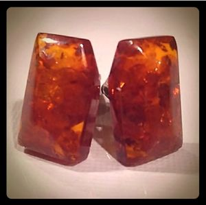 MCM 14K/835 Silver Authentic Baltic Amber Cufflink